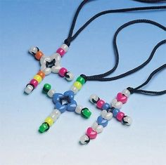 Shop for Beaded Cross Necklace Craft Kit at S&S Worldwide. Everyone will enjoy creating these outstanding cross necklaces. Includes neon, glow-in-the-dark and heart pony beads, black braid and instructions. Vbs Crafts, Fun Arts And Crafts, Church Crafts, Easter Crafts, Good Luck Necklace, Evil Eye Necklace, Kids Necklace, Christian Crafts, Christian Jewelry