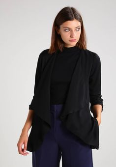 """Dorothy Perkins. WATERFALL - Blazer - black       . Fit:regular. Outer fabric material:100% polyester. Our model's height:Our model is 71.0 """" tall and is wearing size 8. Pattern:plain. Care instructions:machine wash at 40°C,do not tumble dry,Machine..."""