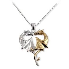 Dragon Heart Gold and Sterling Silver Pendant Necklace to match my device