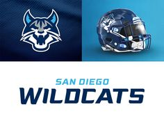 San Diego Wildcats on Behance by CJ Zilligen on Dribbble Football Logo Design, Football Helmet Design, Team Logo Design, Football Uniforms, Sports Uniforms, Football Helmets, Football Team, 32 Nfl Teams, Sports Teams