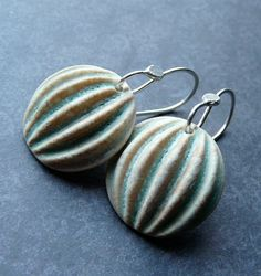 Porcelain Earrings - Melon in Green Ivory. $32,00, via Etsy.