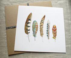 Watercolor Art. Feather Print. Tribal Art. by SnoogsAndWilde