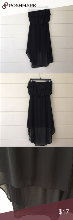 Mine Black High Low Strapless Dress Mine brand size medium black high low Strapless Dress   Bust is 27 inches length in front is 26 inches length in back is 36 inches waist is 24 inches. 100% polyester. In excellent condition. mine Dresses High Low