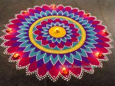 Colorful rangoli design by shanthi sridharan Easy Rangoli Designs Diwali, Rangoli Designs Latest, Simple Rangoli Designs Images, Rangoli Designs Flower, Free Hand Rangoli Design, Rangoli Ideas, Colorful Rangoli Designs, Kolam Rangoli, Flower Rangoli