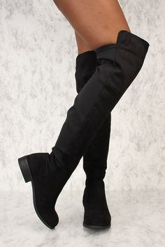 fb1fd1a80c4 Sexy Black Round Toe Thigh High Boots Faux Suede
