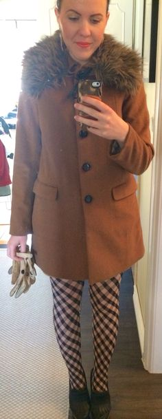 Daily outfit.  Fashion.  Clothes.  Brown coat.  Faux fur.