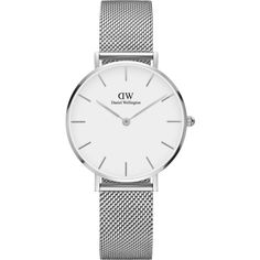 Daniel Wellington Classic Petite stainless steel watch (570 PLN) ❤ liked on Polyvore featuring jewelry, watches, accessories, bracelets, silver, quartz movement watches, white dial watches, daniel wellington, stainless steel jewellery and stainless steel jewelry