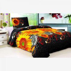 Bavlněné povlečení 140x200 cm - Slunečnice   Vícebarevné Comforters, Blanket, Bed, Home, Creature Comforts, Quilts, Stream Bed, Ad Home, Blankets