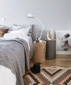 déco chambre cocooning grise et blanche