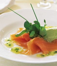Smoked salmon with orange dressing and avocado pâté
