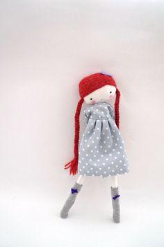 Handmade rag doll Pipi ooak cloth art rag by lassandaliasdeana