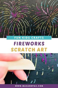 Make this rainbow firework art for an easy craft that teaches kids how to make their own scratch art paper! Using just oil pastels, acrylic paint, and a few other materials, your child will have a blast making their own scratchboard art for a fun, colorful summer activity. #scratchboardart #scratchart #fireworkcraft #kidscraftideas #kidsacivities