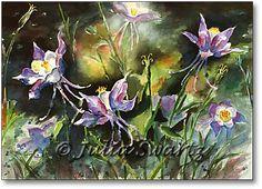 water color paintings, flowers | Julia Swartz Fine Art Gallery: Columbine - Watercolor painting