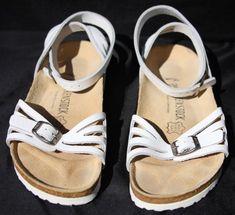 ad6312970c7b28 BIRKENSTOCK Classic Leather Ankle Strap Sandals PALMA white US SZ 8-8.5  -RARE-