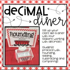 "Create a diner in your classroom to create a fun environment to practice decimals! This product includes four different stations for students to practice using decimals in a ""real"" environment. This activity can be completed in a day or two depending on the level of your"