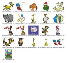 Package 21 Dr Seuss Embroidery Designs  This listing is for a digital file to be embroidered. You will need an embroidery machine to stitch