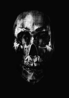 I thought this imaged showed illusion by how artistic this painting is. The dimension is showed by the person in the skulls eyes. Creds: Skulls, illusions and other artworks by Tom French Illusion Paintings, Illusion Art, Totenkopf Tattoos, Skull Pictures, Skull Face, Vanitas, Skull And Bones, French Art, Skull Art