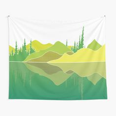 Illustration of a lake scene and a reflection. The artwork makes use of simple lines, a lime colour pallet and geometric pattern. Did you know that lakes are large bodies of water that are surrounded by land and are not part of an ocean?  #tapestry #lakescene #murkywater #foresttrees #mountains #reflections #naturelover #geometricpattern #green #shades of lime #simplistic lines #aesthetic #minimalist #visco #tiktok Green Shades, Thing 1, Build Something, Simple Lines, Color Pallets, Textile Prints, Gifts For Husband, Vignettes, Lakes