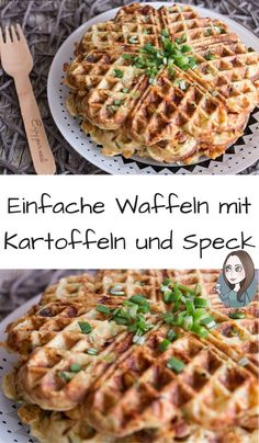 A simple recipe for savory waffles with potatoes, bacon, cheese, and spring onions. The potato waffles are ideal as a hearty breakfast or as a main co Bacon Waffles, Potato Waffles, Savory Waffles, Mary Recipe, Easter Dinner Recipes, Meat Appetizers, Waffle Recipes, Summer Recipes, Vegetarian Recipes