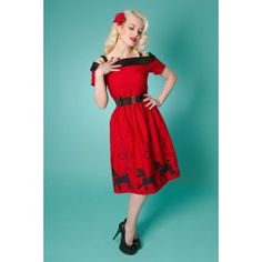 Robe Rockabilly Pin-Up Rétro 50's Carrie Day Poodle