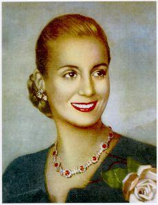 María Eva Duarte de Perón (1919-1952) conocida como Evita, fue una actriz y política argentina.  Como primera dama, promovió el reconocimiento de los derechos de los trabajadores y de la mujer, entre ellos el sufragio femenino y realizó una amplia obra social desde la Fundación Eva Perón.