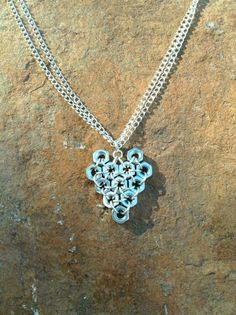 Nut heart necklace  nut jewelry  hardware jewelry  by leonorafi