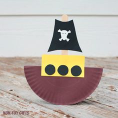 Rocking paper plate pirate boat craft - NON-TOY GIFTS