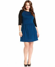 Love Squared Plus Size Dress, Three-Quarter-Sleeve Colorblocked A-Line