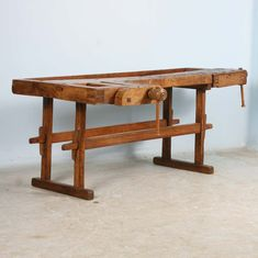 View this item and discover similar  for sale at 1stdibs - This rustic carpenter's workbench has 2 vices which add to the intriguing look and character of the piece. Workbenches such as this are often used as sofa Workbenches, Sofa Tables, Cabinet Makers, Outdoor Furniture, Outdoor Decor, Carpenter, Rustic, Antiques, Modern