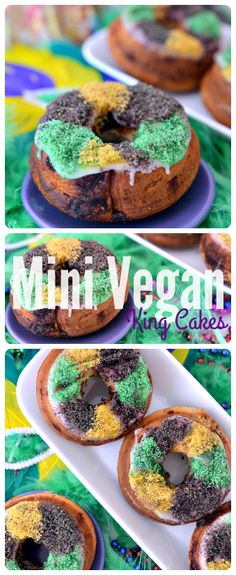 Mini Vegan King Cakes - Made so easy by using vegan canned cinnamon rolls! Click for the recipe or pin this for later <3