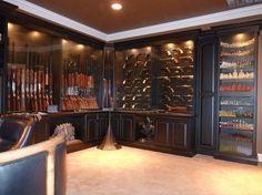 Built-in gun display cabinets for the man cave Gun Safe Room, Gun Closet, Revolver, Reloading Room, Gun Vault, Hidden Gun, Gun Rooms, Trophy Rooms, Gun Storage