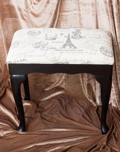 Reserved For Danika- Up-cycled Vanity Bench, Stool, Chair, French Style, Off…