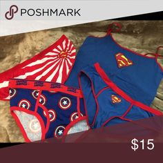 Super Girl Underwear set Never worn & really cute Supergirl tank & panties (M tank & L panties) with matching Captain America briefs for him (size 36-38) Super Girl Intimates & Sleepwear Panties