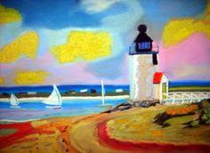 Lighthouse withYellow Clouds  Pastel  Artist  Joseph Chubb
