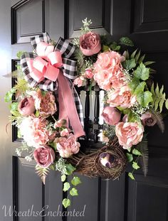 shop: Spring Wreath Easter Wreath Pink Wreath Blush Wreath Rose Peony Wreath Bird Nest Front Door Spring Decor Buffalo Checked Bow Housewarming Excited to share this item from my Easter Wreaths, Holiday Wreaths, Pink Wreath, Floral Wreath, Wreaths For Front Door, Door Wreaths, Great Housewarming Gifts, Deco Floral, Summer Wreath