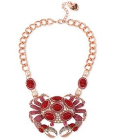 May 2016 $165.00 Macy's ~~ Betsey Johnson Rose Gold-Tone Large Link Pavé Crab Collar Necklace