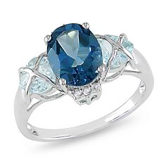 Miadora 10k Gold Blue Topaz and Diamond Accent Ring - Overstock Shopping - Top Rated Miadora Gemstone Rings