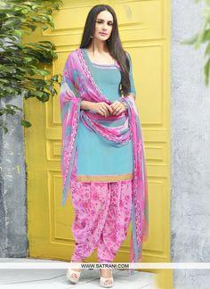 Alluring Blue and pink Coloured crepe Unstitched Salwar Suit