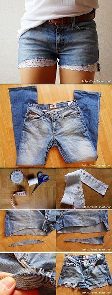 Шорты из старых джинсов.