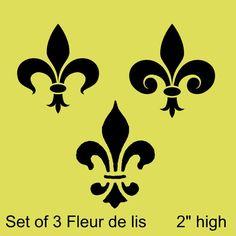Set of 3 Fleur de lis Stencils    Each fleur de lis is 2.5 inches high. You will get 3 individual stencils.    Need a different size? Just send