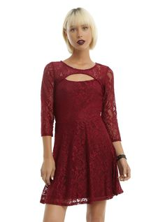 Luscious in lace // Almost Famous Wine Lace Keyhole Skater Dress
