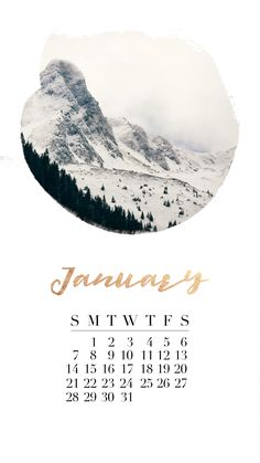 #January #2018 #calendar #iPhone #background #gold #winter #mountains