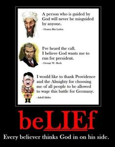 EVERY believer thinks god is on their side. So God is either a lying douchebag playing BOTH sides and laughing his a** off at us or THERE IS NO GOD! Which one do you think it is? Atheist Quotes, Atheist Humor, Troll, Secular Humanism, Religion, Religious People, Christianity, Believe, Wisdom