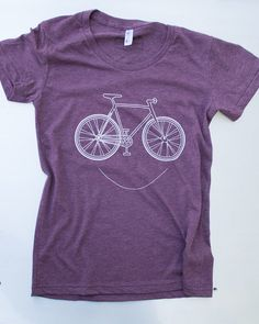 Women's smiling Bike, printed on american apparel tees. color plumb s,m,l. free ship in US.