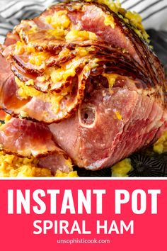 Easy Instant Pot Ham -- you simply can't go wrong with this simple pressure cooker ham recipe. All you need is a bone-in spiral ham + crushed pineapple & brown sugar to make the easiest, most delicious ham ever! Cooking Spiral Ham, Easy Cooking, Ham Recipes, Cooker Recipes, Dinner Recipes, Instant Pot Ham Recipe, Instant Recipes, Pressure Cooker Ham, Whole Ham