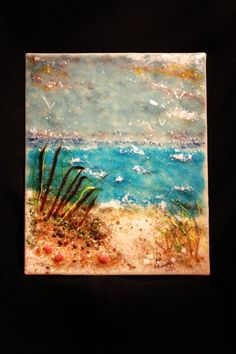 The Beach fused glass stained glass home decor by LMoandcompany