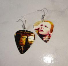 David Bowie Guitar Pick Earrings Handmade Ziggy Stardust Hunky