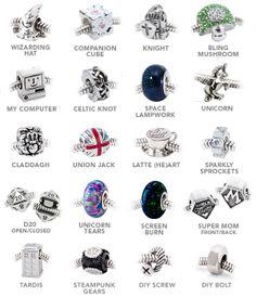 ThinkGeek :: European-Style Charm Bracelet. I would like the silver bracelet. I also like the following charms: wizarding hat, unicorn, TARDIS