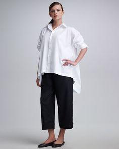 eskandar High-Low Button-Front Shirt,  Flannel Japanese Trousers - Neiman Marcus
