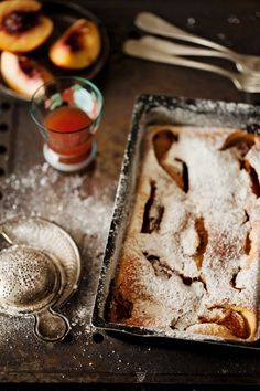 Food photography and a recipe of nectarine clafoutis